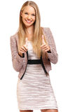 Happy businesswoman with thumbs up portrait Royalty Free Stock Photo