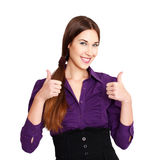 Happy businesswoman thumbs up and teeth smile Royalty Free Stock Photography