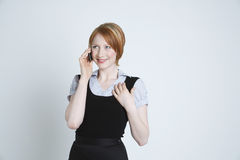 Happy Businesswoman Using Cell Phone Royalty Free Stock Photos