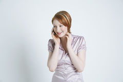 Happy Businesswoman Using Cell Phone Stock Photography