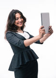 Happy businesswoman using tablet computer Royalty Free Stock Photo