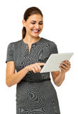 Happy Businesswoman Using Tablet Computer Stock Photo