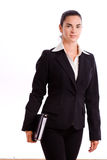 Happy businesswoman walking isolated Stock Photography