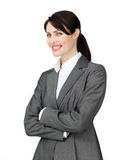 A happy businesswoman with a white shirt Royalty Free Stock Images