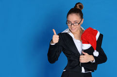 Happy Businesswoman With Laptop, Christmas Hat Royalty Free Stock Image