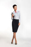 Happy Businesswoman With Notebook Stock Images