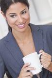 Happy Businesswoman Woman Drinking Tea or Coffee Royalty Free Stock Photos