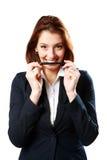 Happy businesswoman woman holding pen Stock Photo