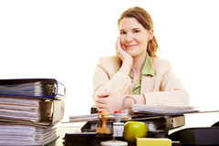 Happy businesswoman at work Royalty Free Stock Photo
