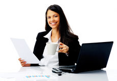 Happy businesswoman at work Stock Image