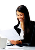 Happy businesswoman at work Royalty Free Stock Photos