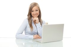 Happy businesswoman at work Royalty Free Stock Image