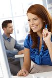 Happy businesswoman at work Royalty Free Stock Images