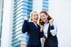 Happy businesswomen celebrating success Royalty Free Stock Images