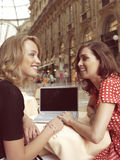 Happy businesswomen with laptop Royalty Free Stock Photos