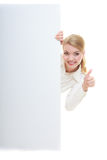 Happy bussines woman with blank presentation board banner sign. Stock Image