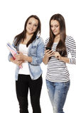 Happy and busy students Royalty Free Stock Photo