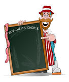Happy Butcher pointing at his Big Sign Stock Image