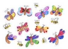 Happy butterflies and honey bees - children drawing Royalty Free Stock Images