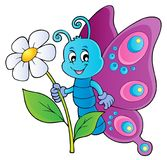 Happy butterfly holding flower theme 1 Stock Photo