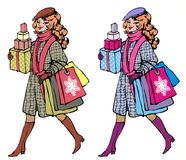 Happy buyer. Happy shopping girl in two color wariant on white background Royalty Free Stock Photo
