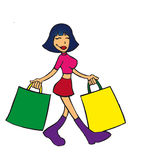 Happy buyer. Vector file of a young girl. She comes from the store and carries two bags (possiblity for text or logos here). You can modify colors easily and use royalty free illustration