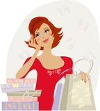 Happy buyer. Young lady enjoys her shoppings Vector Illustration