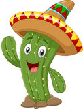 Happy cactus waving hand on white background vector illustration
