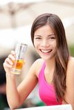 Happy cafe woman drinking drink Stock Images
