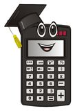 Happy calculator and education. Smiling calculator in black education`s hat Stock Image