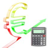 Happy calculator with euro value increasing Stock Photo