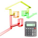 Happy calculator with increasing real estate value Royalty Free Stock Photo