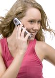 Happy Call. Teen on cell phone Stock Photos