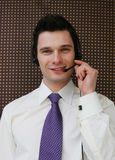Happy call center operator Stock Photography