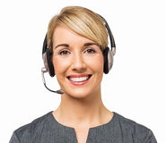 Happy Call Center Representative Wearing Headset Royalty Free Stock Photo