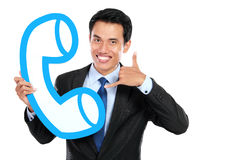 Happy call centre operator Stock Photography