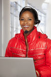 Happy call centre rep Royalty Free Stock Photos