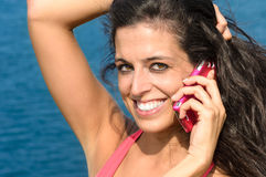 Happy call on vacations Royalty Free Stock Images