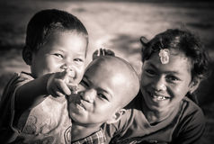 Happy cambodian children. Cambodian children posing for a photo, Siem Reap, Cambodia Stock Photography