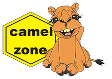 Happy camel with yellow sign camel zone Royalty Free Stock Photos