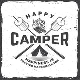 Happy camper. Happiness is toasted marshmallows. Vector illustration. Vintage typography design with camping tent. Campfire, marshmallow on a stick silhouette royalty free illustration