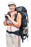 Happy camper in a hike with a backpack and a camera Stock Photos