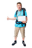 Happy camper hiker with a blank isolated on white Royalty Free Stock Photo