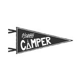 Happy camper pennant template. Typography design and outdoor activity symbol - tent. Monochrome. Vector isolated on vector illustration