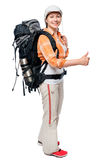 Happy camper traveling with a large backpack, portrait Royalty Free Stock Image
