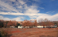 Happy Campers in an RV Park Stock Images
