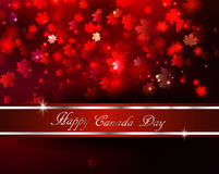 Happy Canada Day background. Magic maple leaves rain with red and gold ribbon Royalty Free Stock Image