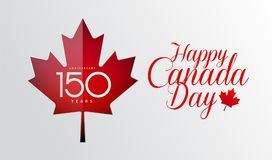 Happy Canada Day calligraphy greeting card - Canada flag, maple. Leaf, 150 years Canada Independence day anniversary celebration - vector illustration Stock Image