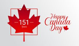 Happy Canada Day calligraphy greeting card - Canada maple leaf f. Lag, 151 years Canada Independence day celebration - vector illustration vector illustration