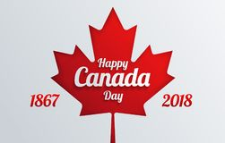 Happy Canada Day calligraphy greeting card - Canada maple leaf f. Lag, Canada Independence day celebration - vector illustration royalty free illustration